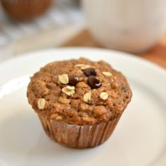 Spelt Oat Pear Muffins Recipe Breakfast and Brunch, Breads with spelt flour, rolled oats, cinnamon, baking soda, baking powder, sea salt, pure maple syrup, sucanat, butter, large eggs, mashed banana, pears, vanilla, semi-sweet chocolate morsels