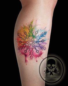 Watercolor color wheel snowflake by Sawooli