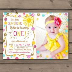 Sunshine Birthday Party Invite Sunshine by Anietillustration