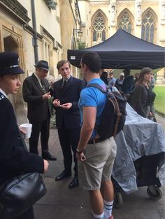 Roger and Shaun BTS filming series 3 at Exeter College, Oxford on Wednesday, July 29, 2015. They're eating cakes from Happy Cakes.
