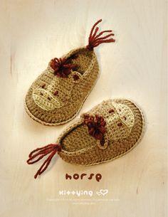 Horse Baby Booties Crochet PATTERN by Kittying.com / mulu.us