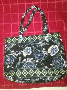 Floral Quilted Small Tote Purse Beautiful Pattern Black With Blue Pink Flowers Tote Purse, Beautiful Patterns, Pink Flowers, Women's Accessories, Kate Spade, Shoulder Bag, Purses, Floral, Blue