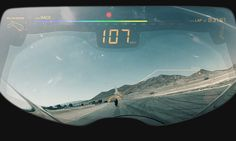 The view from the Helmet with all the info from the dashboard on your visor!