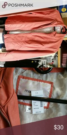 Coral colored leather jacket Coral colored leather jacket brand new size Medium Maurices Jackets & Coats