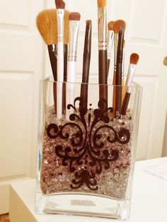Vinyl makeup brush holder