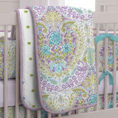 Aqua and Purple Jasmine Girl Crib Bedding Set by Carousel Designs. Nursery Bedding Sets Girl, Purple Bedding, Baby Blue Nursery, Safari Nursery, Baby Girl Crochet Blanket, Baby Canopy, Carousel Designs, Crib Sets, Cool House Designs