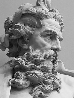 Poseidon II - Bust of Neptune by Lambert-Sigisbert Adam, 1725, Los Angeles County Museum of Art, Los Angeles, California. (Photo by mharrsch)