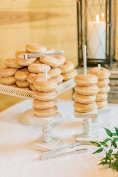wedding reception dessert table with glazed donuts   Cake alternative inspiration for your rustic      Romantic South Wind Ranch Wedding - MADELINE