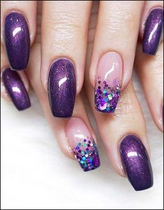 18 Stunning Purple Nail Arts & Designs in 2019 is part of Cute Acrylic nails Bling - Try our cutest trends of purple nail arts and designs so that you may get fresh hands' look and gorgeous personality in year 2019 Purple Nail Art, Purple Nail Designs, New Nail Designs, Acrylic Nail Designs, Purple Gel Nails, Purple Wedding Nails, Purple Pedicure, Violet Nails, Gorgeous Nails