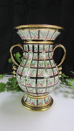 """Vintage Vase H Bequet Quaregnon Made In Belgium 2 Handled Vase, 9 1/2"""" X 7"""""""