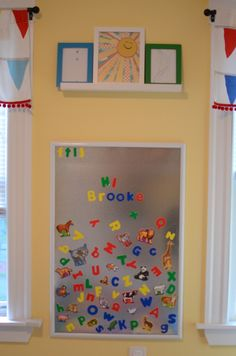 magnetic board for barns kids area. I can find/make lots of fun stuff to put on it magnetic board for barns kids area. I can find/make lots of fun stuff to put on it Playroom Decor, Kids Decor, Playroom Ideas, Basement Daycare Ideas, Nursery Ideas, Home Daycare, Church Nursery, Toy Rooms, Child Room