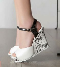Gorgeous Contrast Colour PU Flower Print Wedge Heel Sandals