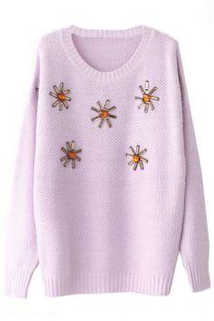 Classic Solid Rhinestone Sweater