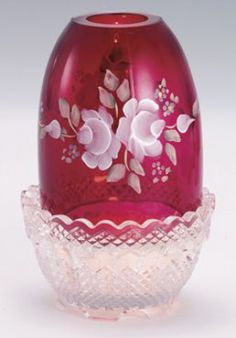 Fenton Hank Painted Ivory Roses on Cranberry Glass