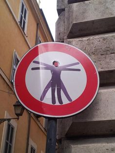 Street art artist Clet in Rome Roma