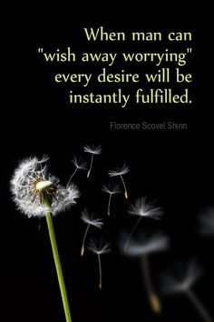 """Daily Quotation for January 18, 2016  #quote  #quoteoftheday - When man can """"wish away worrying,"""" every desire will be instantly fulfilled. - Florence Scovel Shinn"""
