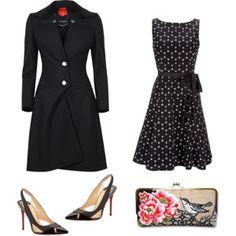 Black and White Dress and Black Coat