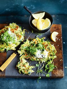 two veggie loves: zucchini and brussels sprouts fritters. for more delicious recipes visit movenourishbeliev. Vegetable Recipes, Vegetarian Recipes, Healthy Recipes, Delicious Recipes, Veggie Dishes, Donna Hay Recipes, Whole Food Recipes, Cooking Recipes, Dessert Recipes