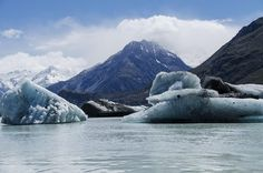 Melting Moutain A glacier lake near Mt. Cook in New Zealand.