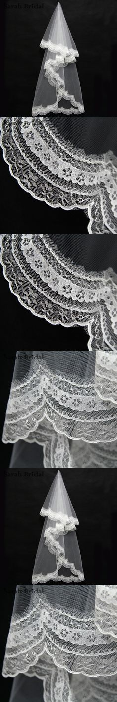Simple 2 Layers White Lace edge Wedding Veil 1.5 M Tulle Bridal Veil no Comb Wedding Accessories velos de novia In Stock 11043WT