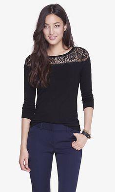 Lace Yoke Bateau Neck Sweater | Express both colors XS