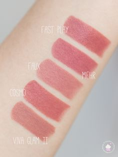 MAC Lipstick Swatches: Fast Play (Amplified), Mehr (Matte), Faux (Satin), Cosmo (Amplified), Viva Glam II (Satin)