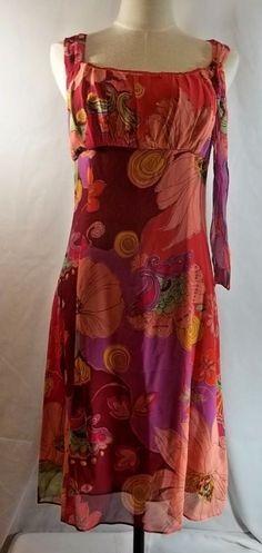 Silk Dress Floral Bob Mackie Studio 4P Empire Waist Sleeveless Side Zip Lined #BobMackie #EmpireWaist #Festive