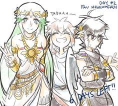 Pit, Dark Pit, and Palutena (I forgot how you spell her name, so sorry if its wrong. -Shailene).