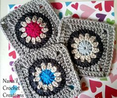 Crochet - Nana's Flower in a Circle in a Square - Free pattern - Downloaded and printed