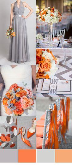 grey and orange autumn wedding color ideas