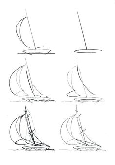 Boats draw a boat how to draw a boat step by step great ways how to draw a speedboat easy Sailboat Drawing, Sailboat Art, Sailboat Painting, Sailboats, Watercolour Tutorials, Watercolor Techniques, Drawing Techniques, Pencil Art Drawings, Easy Drawings