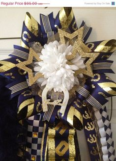 Homecoming Mum - Navy Gold-Ready To Ship, Cy Ranch  Custom orders welcome
