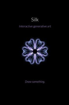 Interactive generative art http://weavesilk.com/ even someone like me can create art!! with this website ofcourse , any movement will be a nice draw
