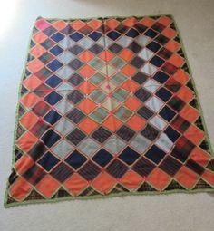 SPRING SALE Handmade Wool Patchwork Afghan by VintageSouthernPicks