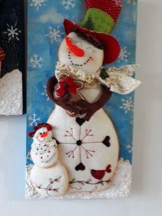 Santa, nieve y reno Christmas Clay, Christmas Snowman, Christmas Crafts, Merry Christmas, Xmas, Christmas Ornaments, Felt Christmas Decorations, Christmas Themes, Clay Crafts