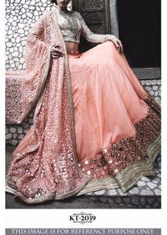 Colour Trendz Peach & Off White Designer Foil Mirror Work Lehenga Choli in India Lehenga Choli Designs, Pakistani Dresses, Indian Dresses, Indian Outfits, Nikkah Dress, Indian Attire, Indian Wear, Indian Style, Mirror Work Lehenga