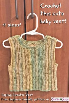 Add a stylish finishing touch to your little one's outfit with the Sapling Sweater Vest. The lightweight fabric is perfect for warmer weather, and the gentle ribbing stretches to grow and move with active babies. The beginner friendly pattern work Crochet For Kids, Crochet Baby, Free Crochet, Knit Crochet, Crochet Vest Pattern, Crochet Patterns, Crochet Ideas, Crochet Projects, Free Pattern