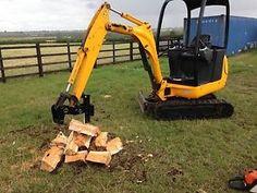 mini digger log splitter / hydraulic log splitter / jcb 8014 / digger grab | eBay