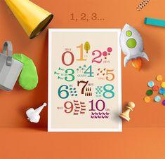 Poster enfant chiffres 1 2 3 - disponible sur la boutique SpilloDesign sur Etsy