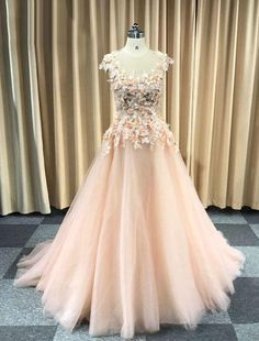 PINK ROUND NECK TULLE LACE APPLIQUE LONG PROM