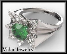 #vidarjewelryArtfire on Artfire                     #ring                     #Green #Emerald #Diamond #White #Gold #Flower #Engagement #Ring               Green Emerald & Diamond 14k White Gold Flower Engagement Ring                                           http://www.seapai.com/product.aspx?PID=199248