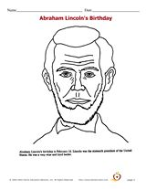 Abraham Lincoln coloring page for Presidents' Day (Third Monday in February)