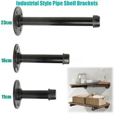 about 3 Sizes Iron Industrial Steampunk Style Pipe Wall Shelf Brackets DIY 3 Sizes Iron Industrial Steampunk Style Pipe Wall Shelf Brackets DiyAbout About may refer to: Iron Pipe Shelves, Industrial Pipe Shelves, Industrial Home Design, Industrial House, Wood Shelves, Industrial Style, Craft Shelves, Diy Shelving, Iron Shelf