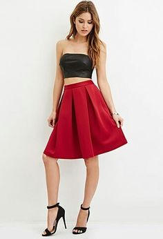 #Formal outfit red,  Box pleat a line skirt