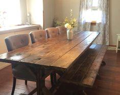Farmhouse Table Rustic Farm Table Farmhouse Dining Table | Etsy Barn Table, Rustic Table, Rustic Kitchen, Wood Tables, Dining Tables, Side Tables, Table Bench, Trestle Table, Kitchen Decor