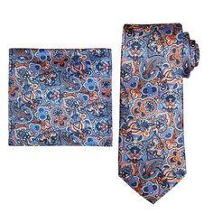 Men's Batik Bay Tie & Pocket Square, Light Grey