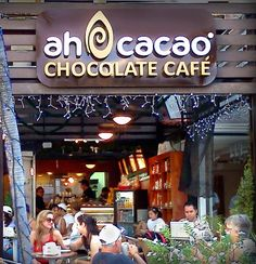 Cafe, te, cacao. Try the Mayan Choc: spicy! on 5th and Costituyente and 5th and 30th. I can be seen there every day....  Ah Cacao Chocolate Cafe