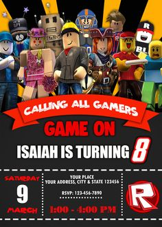 Roblox Birthday Party Invitation with a free backside included. Personalized Printable Digital invitation for boys or girls of any age. Roblox Birthday Cake, Minecraft Birthday Invitations, Lego Birthday, Printable Birthday Invitations, Digital Invitations, Birthday Ideas, Party Printables, Free Printables, 9th Birthday Parties