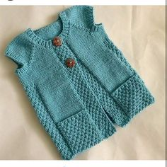 Hand knit aqua sleeveless toddler girl cardigan by SnuggleBubs Baby Knitting Patterns, Baby Sweater Knitting Pattern, Knitting For Kids, Knitting Designs, Hand Knitting, Knitting Ideas, Baby Vest, Baby Cardigan, Little Girl Fashion