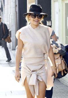 Rita Ora wears a double-knotted look in a neutral color // #Fashion #Style
